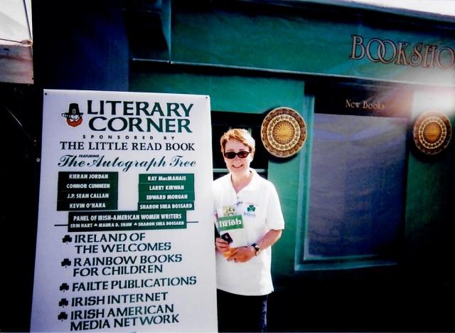 Book signing at Milwaukee Irish Fest where I met and presented Mary McAleese, President of Ireland (1997-2011), Finding My Irish book